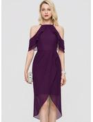 Sheath/Column Square Neckline Asymmetrical Chiffon Cocktail Dress