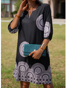 Print Shift 3/4 Sleeves Midi Casual Tunic Dresses
