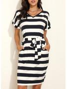 Print Striped Bodycon Short Sleeves Midi Casual Pencil Dresses