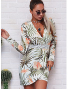 Floral Print Bodycon Long Sleeves Mini Casual Dresses