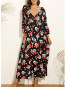 Floral Print Shift Long Sleeves Maxi Boho Casual Vacation Dresses