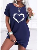 Print Hjärta Shiftklänningar Korta ärmar Mini Fritids t-shirt Modeklänningar