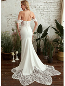 Trumpet/Mermaid Off-the-Shoulder Chapel Train Wedding Dress With Sequins