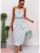 Impresión Vestido línea A Sin mangas Midi Casual Vacaciones Patinador Tipo Vestidos de moda