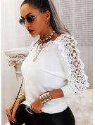 Rundhalsausschnitt Lässige Kleidung Spitze Einfarbig Pullover