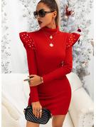 固体 ビーズ ボディコンドレス 長袖 ミニ リトルブラックドレス パーティー エレガント ファッションドレス