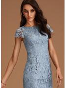 Rund-ringning Korta ärmar Midi Modeklänningar