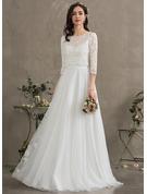 Corte A Amada Longos Tule Vestido de noiva