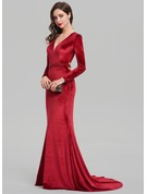 Trumpet/Mermaid V-neck Sweep Train Velvet Evening Dress With Beading Sequins