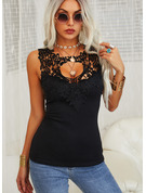 Lace Solid Round Neck Sleeveless Casual Sexy Tank Tops