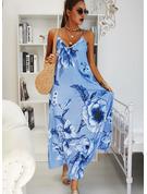 Kwiatowy Nadruk Suknie shift Bez Rękawów Maxi Boho Nieformalny Wakacyjna Rodzaj Modne Suknie
