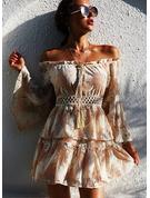 Print Kjole med A-linje Flare-ærmer Lange ærmer Mini Casual skater Mode kjoler