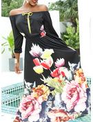 Blommig Print A-linjeklänning 1/2 ärmar Maxi Party Elegant skater Modeklänningar