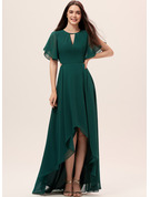 A-Line Scoop Neck Asymmetrical Chiffon Bridesmaid Dress