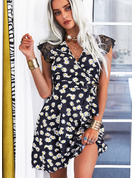Floral Lace Print A-line Cap Sleeve Mini Casual Skater Wrap Dresses