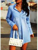Solid Shift Long Sleeves Mini Casual Shirt Dresses