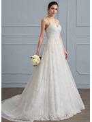 A-Line/Princess Sweetheart Sweep Train Lace Wedding Dress With Ruffle