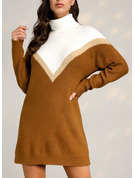 Farbblock Etuikleider Lange Ärmel Midi Lässige Kleidung Pullover Modekleider