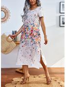 Floral Impresión Vestidos sueltos Manga Corta Midi Casual Vestidos de moda