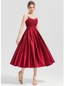 A-Line/Princess Scoop Neck Tea-Length Satin Cocktail Dress With Appliques Lace