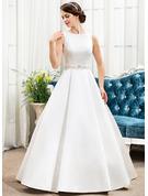 Duchesse-Linie U-Ausschnitt Bodenlang Satin Brautkleid mit Perlstickerei Pailletten