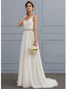 A-Line V-neck Sweep Train Chiffon Wedding Dress With Ruffle Lace Beading Sequins