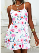 Floral Impresión Cubierta Sin mangas Mini Casual Tipo Vestidos de moda
