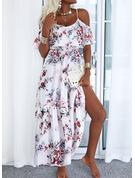 Floral Impresión Vestido línea A Mangas 1/2 Maxi Casual Patinador Vestidos de moda