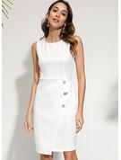 固体 ボディコンドレス ノースリーブ ミディ リトルブラックドレス カジュアル タンク ファッションドレス