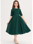A-Line Scoop Neck Tea-Length Chiffon Lace Junior Bridesmaid Dress With Pleated