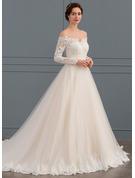 Balklänning Off-shoulder Chapel släp Tyll Spets Bröllopsklänning