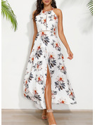 Floral Print A-line Sleeveless Maxi Party Sexy Skater Dresses