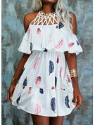 Print A-line 1/2 Sleeves Midi Casual Skater Dresses