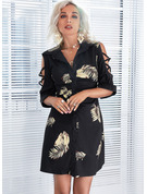 Stampa A trapezio 1/2 maniche Mini Casuale Camicia Vestiti di moda