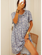 Floral Print Shift Short Sleeves Midi Casual Tunic Dresses
