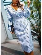 PolkaDot Fodral Långa ärmar Midi Elegant Modeklänningar
