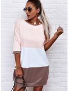 Color Block Shift 1/2 Sleeves Mini Casual T-shirt Dresses