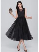 A-Line/Princess Scoop Neck Tea-Length Tulle Homecoming Dress