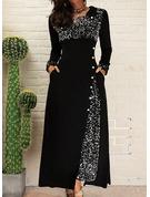 Paljetter A-linjeklänning Långa ärmar Maxi Elegant skater Modeklänningar