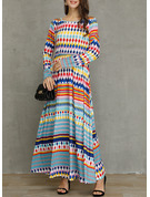 Geometric Print Shift 3/4 Sleeves Maxi Casual Dresses