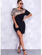 Leopardo Trozos de color Vestidos sueltos Manga Corta Mini Elegante camiseta Vestidos de moda