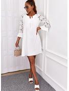 Sólido Vestidos sueltos Mangas 3/4 Mini Elegante Vestidos de moda