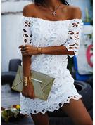 Lace Solid Sheath 3/4 Sleeves Mini Little Black Casual Elegant Dresses