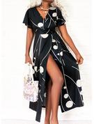 Print Kjole med A-linje Korte ærmer Maxi Casual skater Wrap Mode kjoler