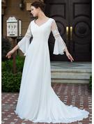 A-Line/Princess V-neck Court Train Chiffon Wedding Dress With Lace Beading