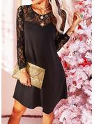 Lace Solid Shift Long Sleeves Midi Little Black Elegant Tunic Dresses
