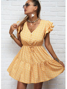 Print A-line Cap Sleeve Mini Casual Skater Dresses