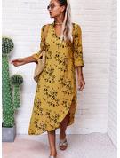 Print Skiftekjoler Lange ærmer Maxi Casual Mode kjoler