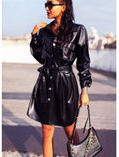 Sólido Bainha Manga Comprida Mini Vestido Preto Casual Vestidos-camisas Vestidos na Moda