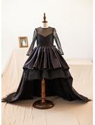 Forme Princesse Asymétrique Robes à Fleurs pour Filles - Taffeta/Tulle Manches longues Col rond avec À ruban(s)
